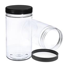 Pack of 6-32 Oz Large Clear Empty Plastic Storage Jars with