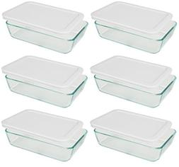 Pyrex 3-cup Rectangle Glass Food Storage Containers With Whi