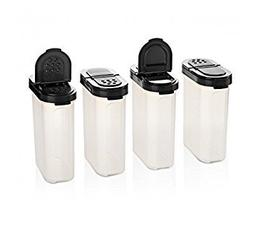 Tupperware Large Spice Shaker Set of Four. Black Seals