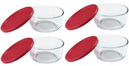 World Kitchen Pyrex 4-Cup Round Food Storage Plus Dish ,Red