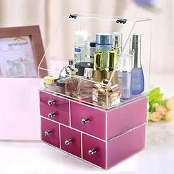 Extra Large Acrylic Cosmetic Organizer With Clear Box Dustpr