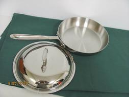 "ALL-CLAD 9""Skillet with Lid d5 Polished Stainless Unused Han"