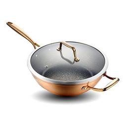 Cate Maker Anodized Aluminum Nonstick Wok with Lid, Inductio
