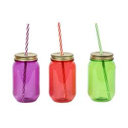 DEI Assorted Plastic 16 oz. Mason Jar with Lid & Straw, Set