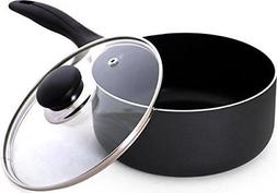 2 Quart Nonstick Saucepan with Glass Lid for Home or Restaur