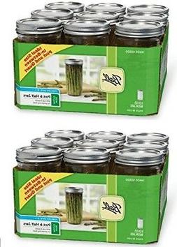 Ball Wide Mouth 1-1/2 Pint, 24 oz. Glass Mason Jars with lid