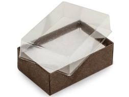 """Pack of 100, Solid 2.5 x 1.5 x 1"""" Clear Lid Chocolate Box Ba"""