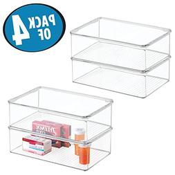 mDesign Stackable Plastic Storage Bin Box with Hinged Lid -
