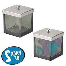 mDesign Bathroom Vanity Square Glass Storage Organizer Canis