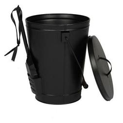 Black Ash Bucket with Lid and Shovel For Fireplaces Fire Pit