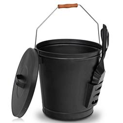Black Metal Fireplace Ash Bucket With Shovel Lid Cover Fire