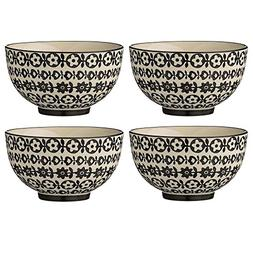 Bloomingville Julie 4.5-inch Ceramic Bowls with Flowers, Bla