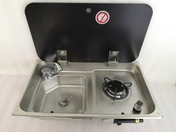 Boat RV Gas Stove Hob Sink Comb With Tempered Glass Lid  21.