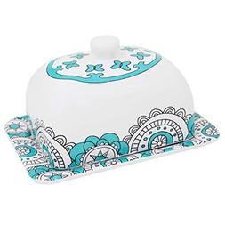 Butter Dish Keeper Large with Lid Cover, 7 Inch Porcelain, H