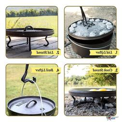 Camp Hike Hunt Fire Cooking Place Tool Dutch Oven with Lid L