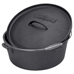Texsport Cast Iron Dutch Oven with Legs, Lid, Dual Handles a