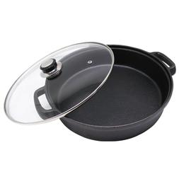 Cast Iron Skillet with Tempered Glass Lid 12-Inch Double Han