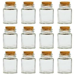 Clear Glass Bottles with Cork Lids- 12 Pack of Small Transpa