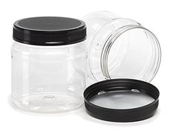 38 oz. Clear Plastic Wide / Large Mouth Jar with Lid, 110mm