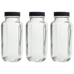 8 oz Clear Thick Plated Glass French Square Empty Bottle Jar