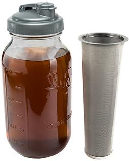 Cold Brew Coffee Maker & Tea Infuser Kit - 2 Quart Glass Bal
