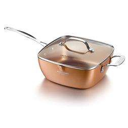 "COOKSMARK Copper Pan 9.5"" Deep Square Nonstick Induction F"