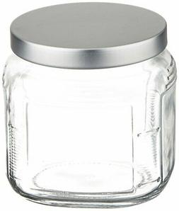 Anchor Hocking Cracker Jar with Brushed Aluminium Lid, Set o