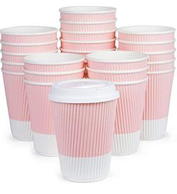 Premium Disposable Coffee Cups With Lids -  Durable 12 oz To