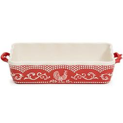 Tara at Home Doodle Doo Red Rooster 13x9 Stoneware Bakeware