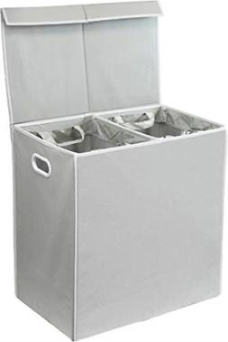double laundry hamper with lid and removable