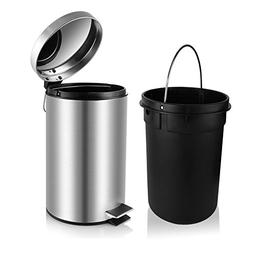 H+LUX Stainless Steel Trash Can, Small Round Trash Can with