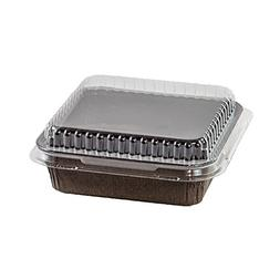 Frestanding Paper Baking Cup Square Brown with LIDS - 4'' x