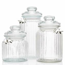 Glass Apothecary Jars with Lids - Cookie Jar, Candy Jar, Gla