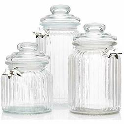 Glass Canisters Apothecary Jars With Lids - Cookie Jar, Cand