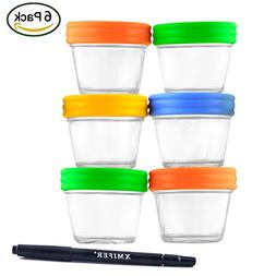Glass Containers for Baby Food Storage Set Contains 6 Small