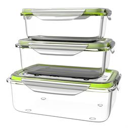 Glass Food Storage Containers 3 Pc with Leak Proof Lids Free