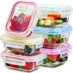 Glass Food Storage Containers with Lids - 6 Pack, 2 Sizes  -