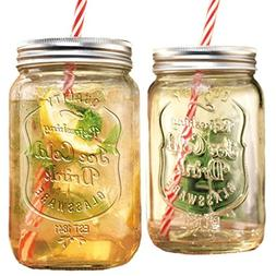 GFSmart Glass Mason Jar Beverage Cups Drink Cup with Stainle
