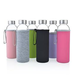 Glass Water Bottles 6 Pack Deluxe Set 18oz - Includes 6 Slee