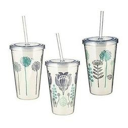 Insulated Double Wall Tumbler Set with Lids and Straws