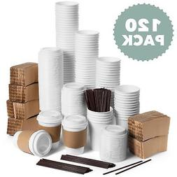 JUMBO Set of 120 Paper Coffee Hot Cups with Travel Lids and