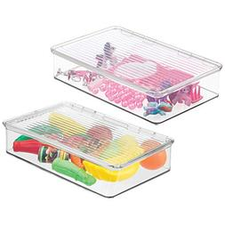 mDesign Slim Stackable Toy Storage Bin with Hinged Lid - Pla