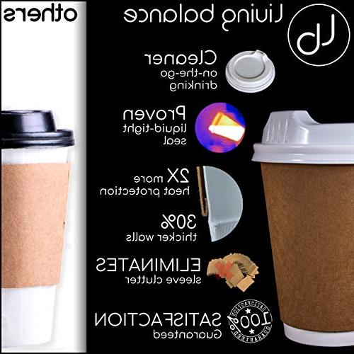 100 Paper Coffee Cups with Lids - Double-Layer