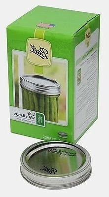 12 Canning Lids with Bands, Ball Mason Wide Mouth, Silver. N