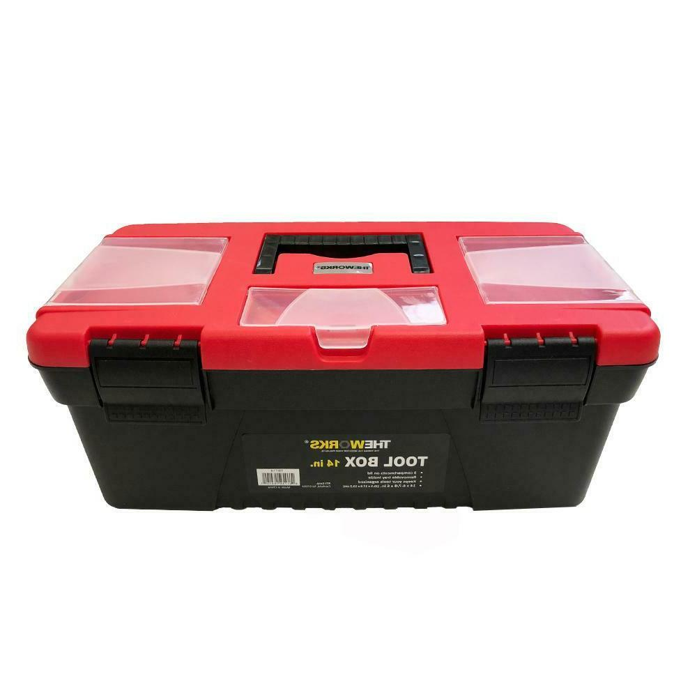 """THEWORKS® 14"""" Tool Box with Lid Organizers and Removable To"""