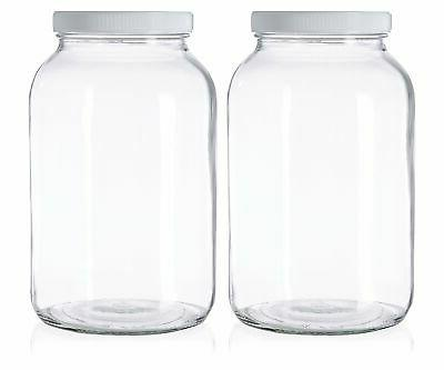 2 Pack - 1 Gallon Glass Jar Wide Mouth with Airtight Foam Li