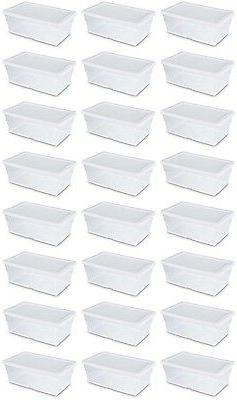 24) Sterilite 6 Quart Clear Stacking Storage Tote with White