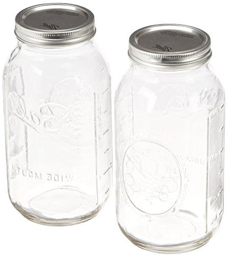2ct 64oz  Wide Mouth Ball Mason Canning w/ Lid & Band Preser