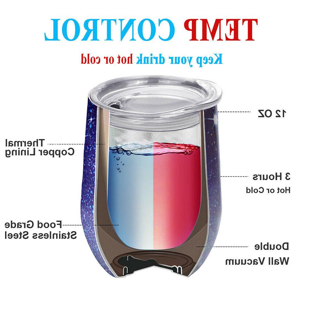 2x Red Lid Blue Stainless Steel Wine Cup