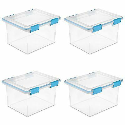 Sterilite 32 Quart Gasket Box with Clear Base and Lid  | 193